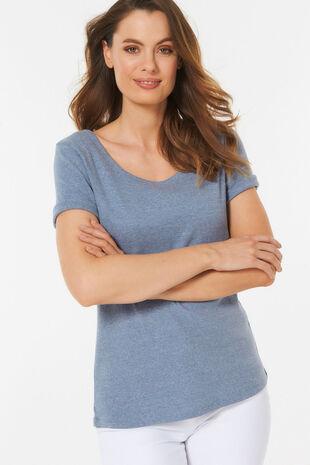 Scoop Neck Marl Basic T-shirt
