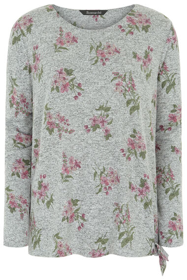 Floral Soft Touch Sweat with Tie Hem