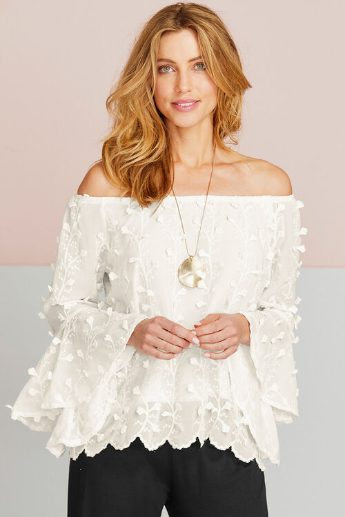 Bardot Style Top With Flared Sleeves