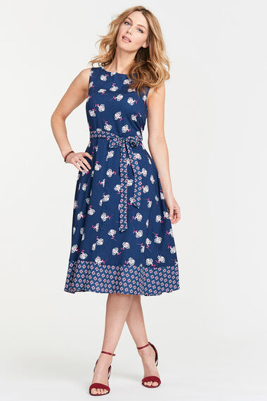 Border Print Fit and Flare Dress