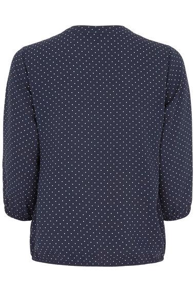 Spot Print 3/4 Sleeve Pleat Front Blouse