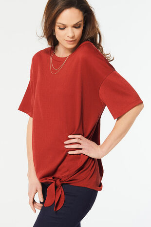 Side Tie Textured Tunic