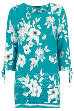Floral Boarder Print Tunic With Ruched Sleeve