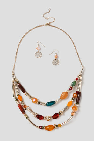 Muse Multi-Coloured Bead Necklace & Drop Earring Set