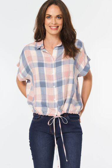 Check Shirt with Drawstring