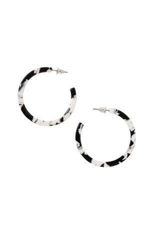 Muse Black and White Resin Hoop Earrings