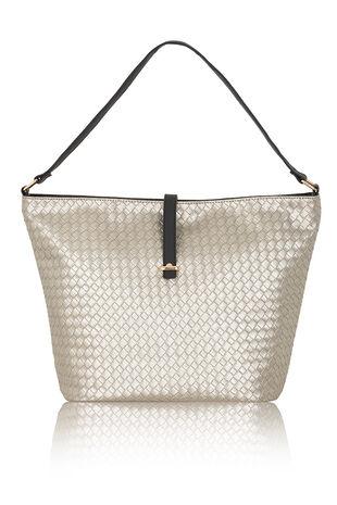 Metallic Basket Weave Tote Bag