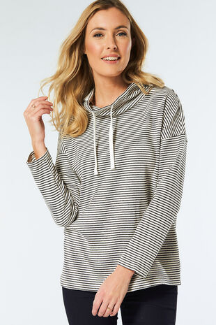 Textured Stripe Cowl Sweat