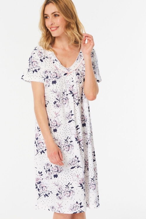 Short Sleeve Floral Print Nightdress