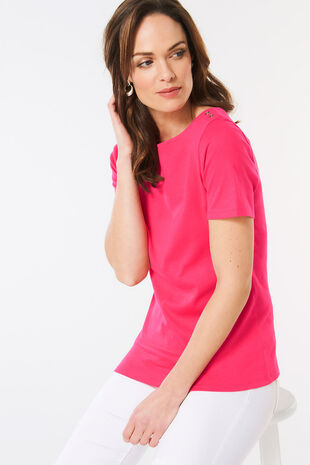 Plain Boat Neck T-Shirt