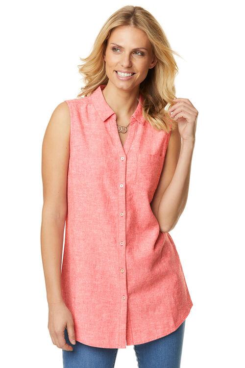 Plain Linen Blend Sleeveless Shirt