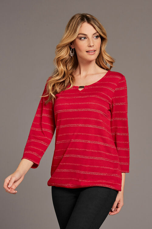Metallic Stripe Keyhole T-Shirt