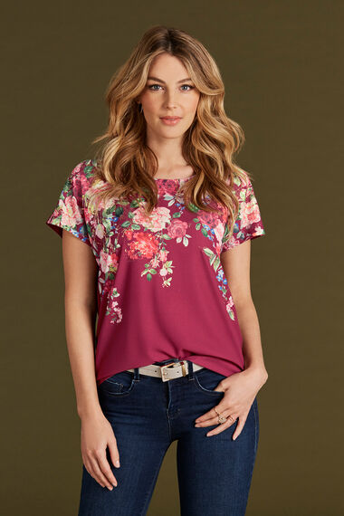 Foil Floral Printed Shell Top