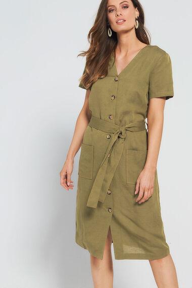 Grace By Eda Linen Blend Button Down Dress