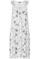 Grey Rose Print Nightdress