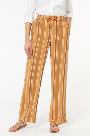 Stripe Ochre Linen Blend Trouser