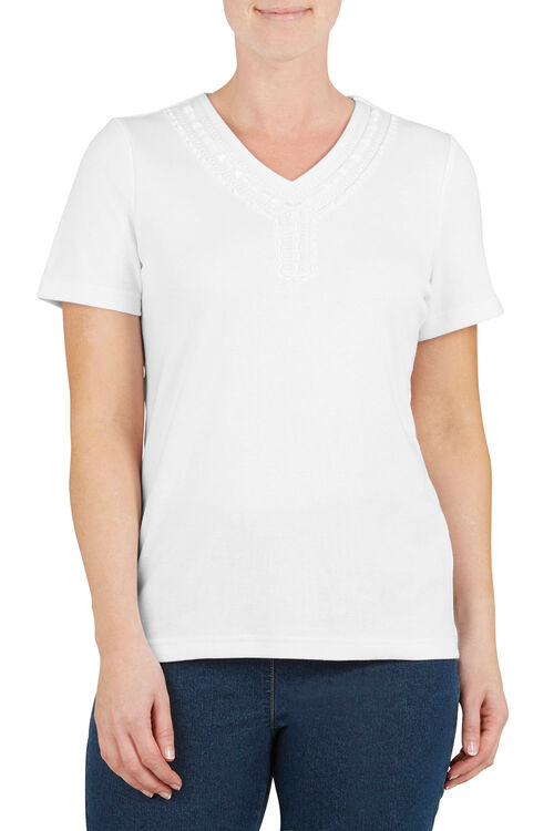 Bead Neck T-Shirt