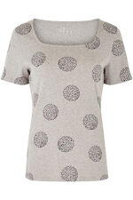Square Neck Dotty Spot Print T-Shirt