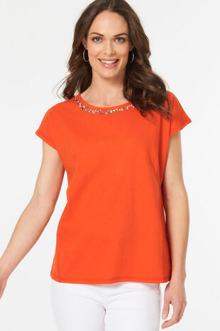 Beaded Neck Linen Blend T-Shirt