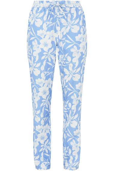 Linear Print Linen Blend Tapered Trousers