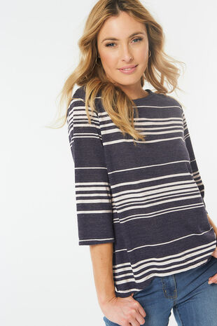 Split Back Stripe Top