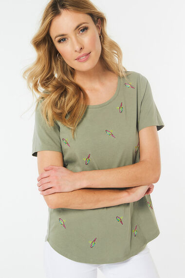 Parrot Embroidered T-Shirt