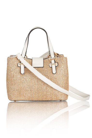Metallic White Straw Tote Bag
