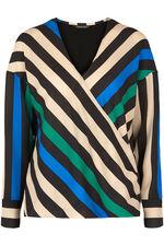 Stripe Mock Wrap Blouse