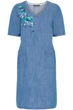 Embroidered Denim Tunic Dress