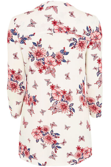 Floral And Butterfly Print Pintuck Jersey Top