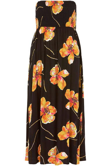 Poppy Print Shirred Maxi Dress