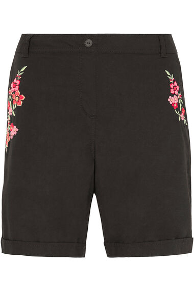 Floral Embroidered Cotton Shorts