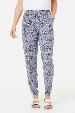 Paisley Print Jersey Harem Trousers