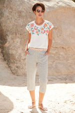 Linen Blend Stripe Cropped Trouser