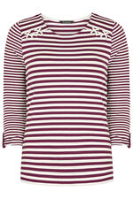 Stripe with Contrast Sleeves T-Shirt