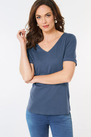 Half Sleeve V Neck T-Shirt