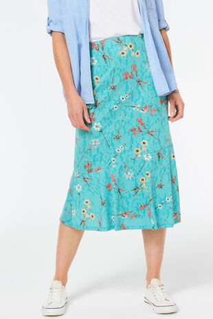 Meadow Burnout Print Frill Hem Skirt