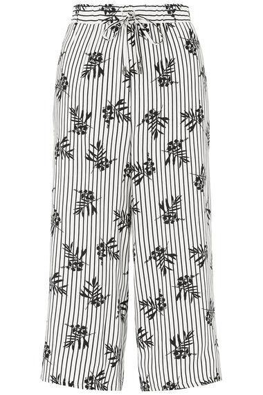 Stripe Leaf Print Wide Leg Cropped Trousers