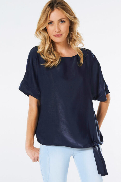 Brushed Satin Knot Detail Top