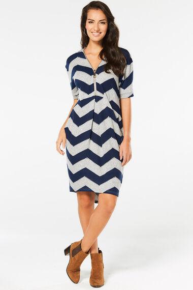 Stella Morgan Zig Zag Tunic Dress with Zip