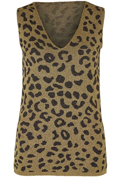 Join Us Leopard Pattern Sleeveless Shimmer Top