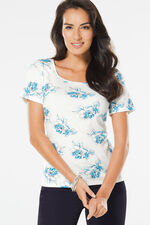 Square Neck Floral Print T-Shirt