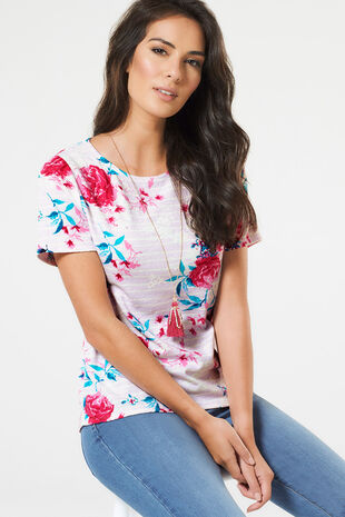 Floral & Stripe Printed Texture Top