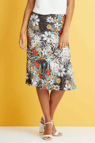 Jungle Print Burnout Skirt