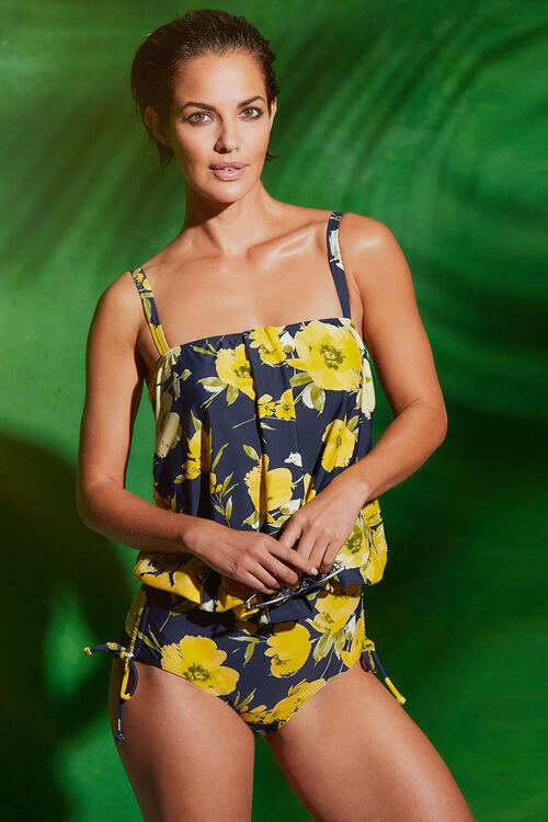 Floral Print Blouson Swimsuit