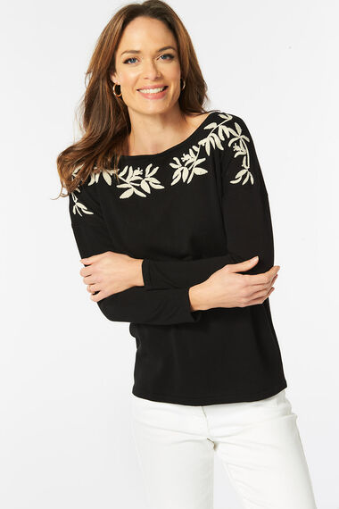 Embroidered Neckline Jumper