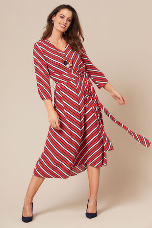 Grace By Eda Diagonal Stripe Dress