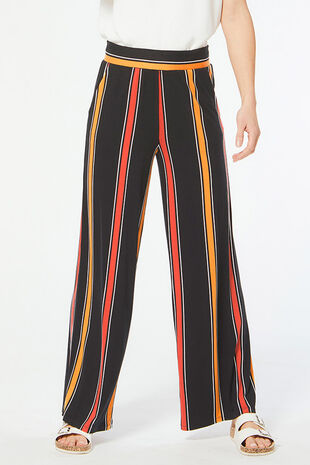 Stripe Jersey Wide Leg Trouser