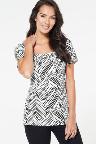 Chevron Stripe Square Neck Top
