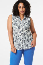 Linear Floral Pleated Sleeveless Blouse